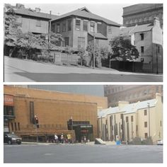 Phillip & Bridge Sts 1925>2015, site of first government house now Museum of Sydney. [State Library NSW > Allan Hawley. By Allan Hawley]
