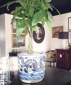 Large Blue U0026 White Chinese Dragon Planter