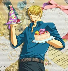 Happy Birthday Sanji, Vinsmoke Sanji, cake, food, text; One Piece