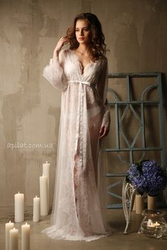 Lace-trimmed Tulle Bridal Robe by Alingerie