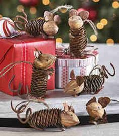 Pinecone and walnut mouse ornaments from Wisteria