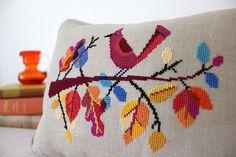 Autumn Bird Satsuma Street modern cross stitch pattern PDF