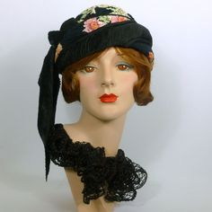 Black and Flowered Patterned Turban Style Hat -Black Satin Pleated Accent- Pink & Green Accents - Mother of the Bride - Church - Luncheon by NouveauHatsbySharon on Etsy