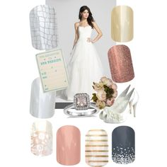 Wedding Nails!!! www.kristaboeding.JamberryNails.net A fashion look from November 2014 featuring Hayley Paige gowns, Menbur shoes and Blue Nile rings. Browse and shop related looks.