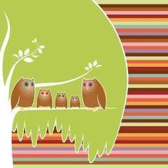owl family wall tree