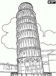 desenho de A Torre de Pisa, a Torre de Pisa é a torre do sino da catedral de Pisa, Itália para colorir
