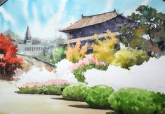 [watercolor step by step] At the park - Landscape Watercolor process watercolor on Arches by NAMIL . Watercolor Landscape, Watercolor Paintings, Step By Step Watercolor, Building Sketch, Park Landscape, Sketches, Watercolor Painting, Drawings, Water Colors