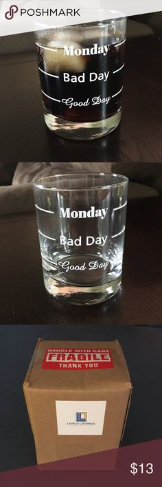 "Funny Whiskey Glasses ""Good Day, Bad Day, Monday"" Cute Whiskey/Wine Glass that has three Hilarious  pour levels - Perfect present!! Everyone Comes brand new, still poly wrapped, & in the packaging you see. Perfect present for any drinker, a bachelor party, boyfriend, husband, father, etc... Great gag gift too!! Grab them while supplies last - Father's Days right around the corner too!! Lively Listings Other"