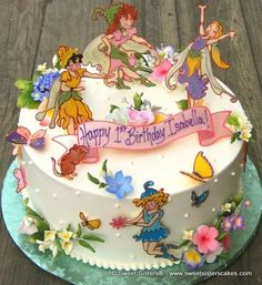 For a fairy fun filled birthday party. #desserts #cakes #birthdaycake #birthday #fairy #flowers #birthdayparty #SweetSisters