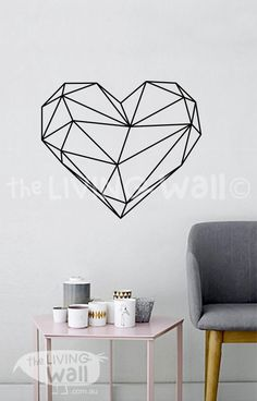 Geometric Heart Wall Decal Geometric Vinyl Decal by LivingWall
