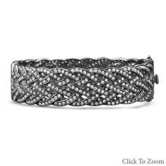 .925 Sterling Silver Thick Braided Woven Black Rhodium Plated CZ Bracelet New  #ArtDeco