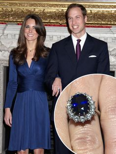 Prince William got down on bended knee and presented this 18-carat Oval Sapphire Ring to Kate Middleton.  The ring belonged to the Prince's late mother, Princess Diana.
