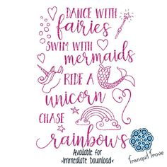 SVG & DXF design - Dance with Fairies, ride a Unicorn, swim with Mermaids and chase Rainbows - decal cut files (Cricut \ Silhouette) Commercial Use Fonts, Silhouette Cameo Projects, Silhouette Vinyl, Silhouette Portrait, Silhouette Files, Unicorns And Mermaids, Cricut Vinyl, Vinyl Decals, Cricut Creations