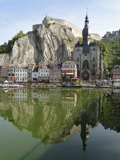 Meuse river reflections, Dinant, Belgium