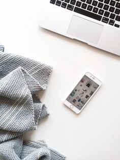 When to start an online business? » flatlay with Macbook Air, Iphone 6s, handmade pinstripe scarf