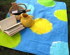fujiwo Ishimoto | reserved for Birgit / mod Marimekko picnic blanket / lemon lime and ...