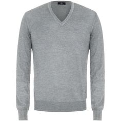 Fay - V-neck Sweater (€175) ❤ liked on Polyvore featuring men's fashion, men's clothing, men's sweaters, grey, mens vneck sweater, mens grey sweater, mens gray sweater, men's v neck sweater and mens wool sweaters