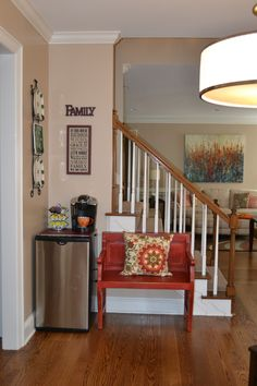 After: An unused corner space becomes a beverage station for this large family.
