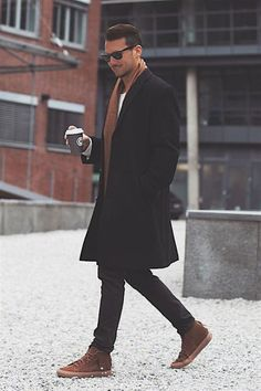 Winter coat for men combo with brown scarf and shoes brought to you by Tom Maslanka