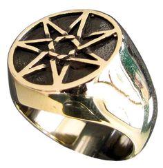 Bronze Celtic Heptagram Ring 7 Point Star Heptagon Flat