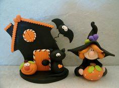 Halloween Set - Witch - Black Cat - Spooky House - Bat - Jack O Lantern - Pumpkin - Figurine