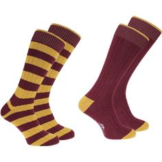Weekender Socks Pack of 2 Striped and Plain (Gold-Wine) - Shooting Clothing, Shooting Accessories, Weekender, Packing, Socks, Wine, Gold, Clothes, Fashion
