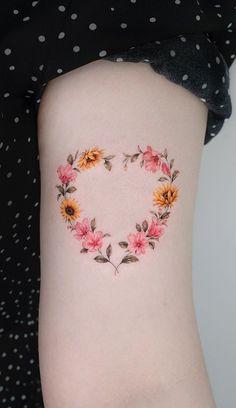 Heart Flower Tattoo, Butterfly With Flowers Tattoo, Butterfly Tattoo Designs, Sweet Tattoos, Pretty Tattoos, Cool Tattoos, Delicate Tattoos For Women, Cute Tattoos For Women, Body Art Tattoos