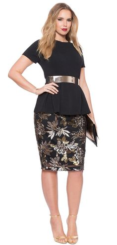 Plus Size Sequin Skirt