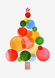 holiday illustration Margaret Berg Art: Ornaments Tree -- Im thinking we could use tissue paper glued in layers to create some beautiful Christmas art. Noel Christmas, Winter Christmas, Christmas Ornaments, Painted Christmas Tree, Disney Christmas, Christmas Design, Simple Christmas, Christmas Activities, Christmas Projects