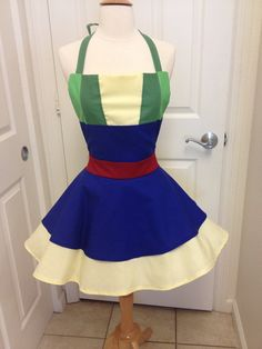 This is an adult size Mulan costume apron. Made of cotton.The skirt is a wrap style that provides full coverage in back yet is adjustable to fit many