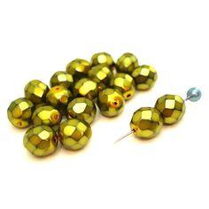 12 geschliffene Wachsglasperlen   Grün Gelb   8mm *pe2925 - JAUL.biz Perlen und Glas