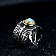 Cool Vintage Feather Leave For Man With Green Stone Stainless Steel Unique Open Ring Jewelry Gothic Style Gothic Wedding Rings, White Gold Wedding Rings, Mens Silver Rings, Sterling Silver Rings, Silver Gifts, Silver Bracelets, 925 Silver, Wedding Bands, Silver Earrings