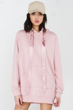 196aee46fc811e Front View Oversized Hoodie in Rose Gold Dope Fashion