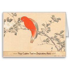 Red Parrot and White Flower Matsumoto Keibun Greeting Cards