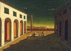Giorgio de Chirico, Melancholia 1916 oil on canvas 20 x 26 inches (The Menil Collection, Houston) Italian Painters, Italian Artist, Les Oeuvres, Modern Art, Contemporary, Oil On Canvas, Art Photography, Sculptures, Drawings