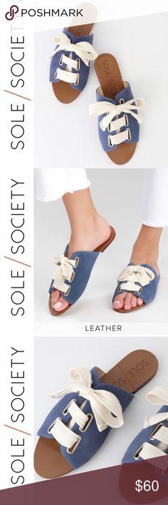 Build A Bear Shoes~Sandals~Blue Denim~Tied Bow~Wood Grain Sole