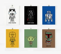 Cute Star wars art print 5 x 7 set of 6 Set A by loopzart on Etsy, $42.00