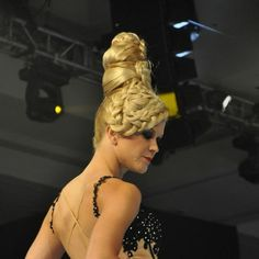 Crazy braided blonde beehive from the back!