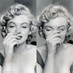 Marilyn Monroe with cigarette celebrities female celebs vintage smoke smile