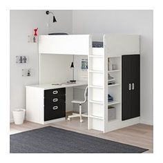 STUVA / FRITIDS Loft bed combo w 3 doors, white, light blue, Single. An extra room isn't always an option when space is limited at home. Ikea Loft, Stuva Loft Bed, Bedroom Furniture, Bedroom Decor, Bedroom Ideas, Ikea Bedroom, Bed Ideas, Bedding Decor, Rustic Bedding