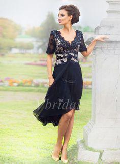 Cocktail Dresses - $118.15 - A-Line/Princess V-neck Asymmetrical Chiffon Lace Cocktail Dress With Lace Beading (0165060307)