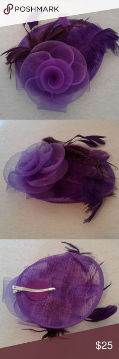 Purple Facinator Hat w/Netting & Feathers Color Purple For ladies or older girls. Netting, feathers One size Great mini top hat Very fancy Great for any occasion  Clip on back Lunafly Accessories Hats