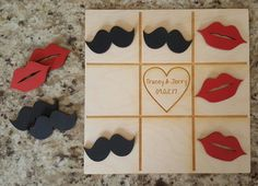 Tic Tac Toe Game - Mustaches & Lips