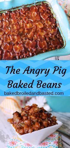 The Angry Pig Baked Beans This baked beans are the perfect side for any BBQ. They have a kick with the spices and ground spicy pork sausage in every bite. It is perfectly topped with a jalapeno bacon. Veggie Dishes, Vegetable Recipes, Food Dishes, Side Dishes, Healthy Recipes, Side Dish Recipes, Cooking Recipes, Fast Recipes, Dinner Recipes