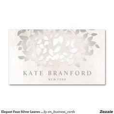 Elegant Faux Silver Leaves On White Marble Business Card - beautiful design great for salon and spa owners, estheticians, skincare professionals, florists, interior designers and more.