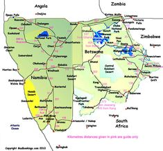 botswana map with distances Distance Map Of Namibia And Botswana With Images Namibia botswana map with distances