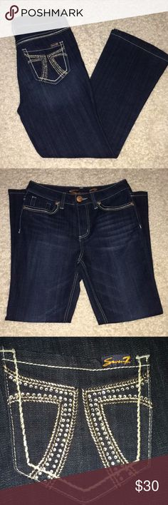 Seven 7 Jeans Dark Size 8 Stretch bling Pocket Seven 7 Jeans Dark Size 8 Stretch bling Pocket ....Slimming boot ....smoke free home if you have any questions let me know measurements are pictured .....never used Seven7 Jeans