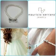 Pulsera aura perla con moño .925 Mauricio Serrano Jewelry