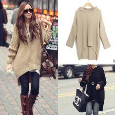 Women Batwing Loose Jumper Irregular Knit Cardigan pullover Hooded Sweater Long #NewLook #Cardigan