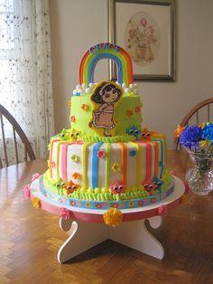 Gracie's 3rd birthday cake...Dora!! See all of my work at: http://www.facebook.com/cakefairynj
